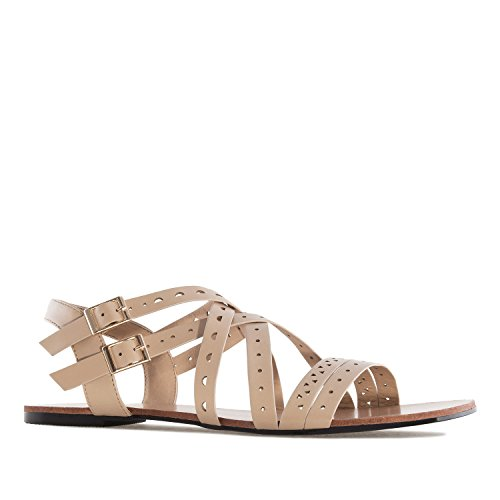 Andres Machado AM5232 Faux Leather Roman Sandals.Large Sizes:UK 8 to 10.5/EU 42 to 45. Beige Faux Leather