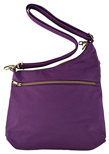 Eggplant Pocket Compartment Exclusive 3 Straight Anti blue Travelon Color Signature Crossbody theft wqfgAFf