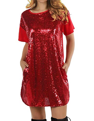 (FUMIKAZU Womens Christmas T-Shirt Dress Sequin Sparkle Patchwork Tunic Dress with Pockets)