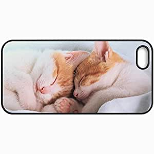 Customized Cellphone Case Back Cover For iPhone 5 5S, Protective Hardshell Case Personalized Cats Kittens Sleep Sleep Blanket Ears Feet Nose Mustache Cats Black