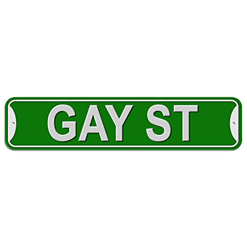 Gay St Street Sign - Plastic Wall Door Street Road Female Name - Green