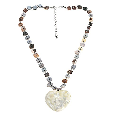 AeraVida Mosaic White Heart of Nautilus Shell Handmade Necklace