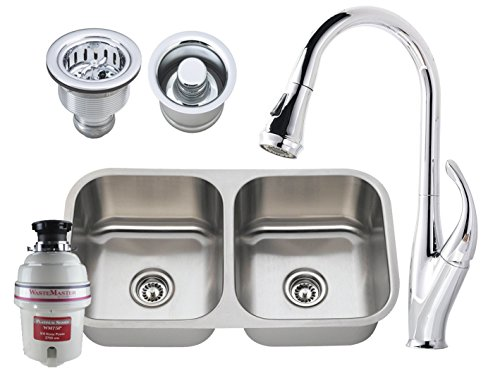 Garbage Disposal Double Sink - All-in-One Undermount Stainless Steel 31 in. Double Bowl Kitchen Sink SET with Faucet in Polished Chrome + Garbage Disposal, Basket Strainer and Disposal Flange (KIT INCLUDES ALL ITEMS SHOWN!)