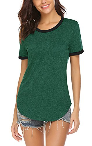 Yidarton Women's Short Sleeve Round Neck T Shirt Color Block Casual Pocket Tops(Green,S)