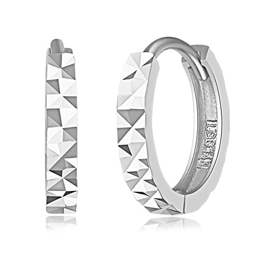 14k White Gold 2mm Thickness Multifaceted Huggie Earrings (11 x 11 -