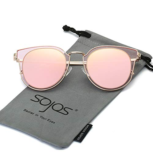 937ffe00fd2 SOJOS Fashion Polarized Sunglasses for Women UV400 Mirrored Lens SJ1057  with Rose Gold Frame Pink Mirrored Lens