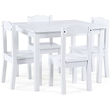 Tot Tutors Kids Wood Table And 4 Chairs Set, White (Carter Collection)