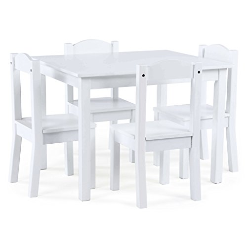 Tot Tutors TC307 Carter Collection Kids Wood Table & 4 Chair Set, White