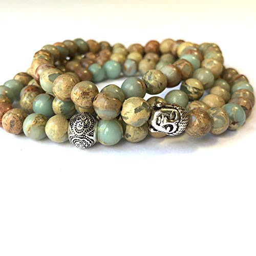 Agar Creations - Men Women 108 Bead African Jasper 8mm Mala Beads - Yoga Meditation Mala Bracelet