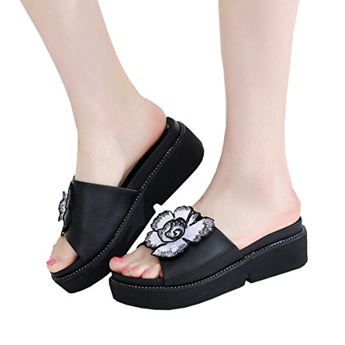 Slippers Shoes Black Women Slippers Women's Dfb Sandals Thick Black 42 Leather For Bottom Slope With Cool White Slippers vn4nqw7HA