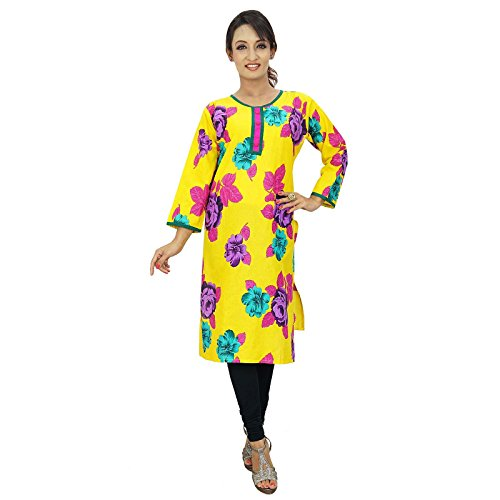 India étnicas Kurti algodón floral de Bollywood Mujeres Casual Wear Top Amarillo