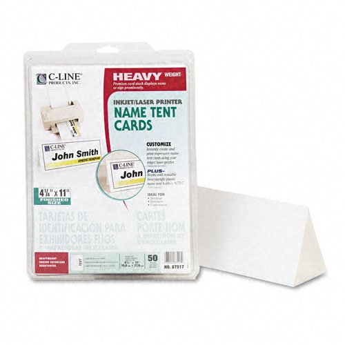 C-Line : Tent Cards, White, 4-1/4 x 11, 1 Card/Sheet, 50 Cards per Box -:- Sold as 2 Packs of - 50 - / - Total of 100 Each by C-Line