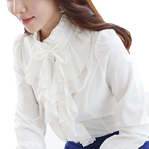 High Neck Collar - Dreamstar StarDream High Neck Blouse Women Vintage Victorian Ruffle Chiffon Career Shirt (TagM=USsize4-6, White)