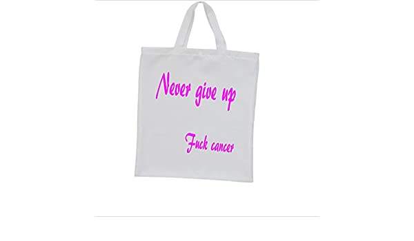 Bolsa Never Give Up Fuck Cancer impresa Bolsa Bolsa Bolsa de la ...
