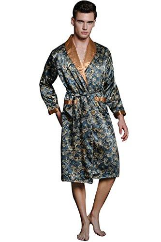 Leopard Blue Satin (SexyTown Long Satin Lounge Print Bathrobe Men's Charmeuse Sleepwear with Pockets Large Navy Blue)