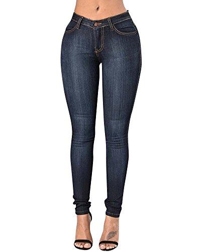 up Leggings Flacos ZhuiKun Vaqueros Push Elástico Jeans Azul Mezclilla Oscuro Alta Cintura Pantalones Pantalones Mujer ZwT8qYRwv