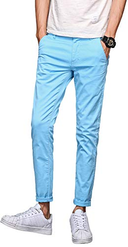 Plaid&Plain Men's Skinny Khaki Pants Slim Fit Chino Pants Light Blue 30X30