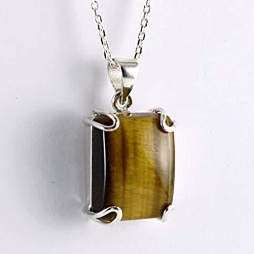 Sterling Silver Natural Brown Rectangle Tiger Eye Gemstone Handmade Pendant Necklace 16+2