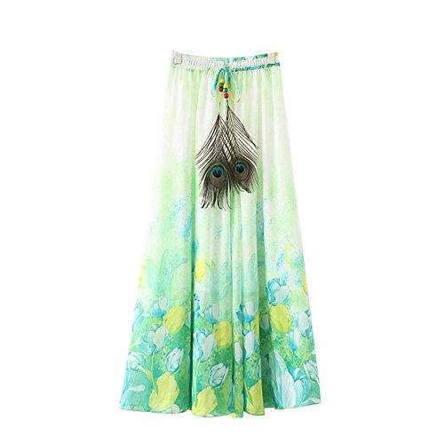 lastique Fleur Lotus de Jupe t Taille Maxi Vert Clair Plisse fte Kaxuyiiy Long Skirt Longue Femmes bohmien Maxi Plage qYwEtSA