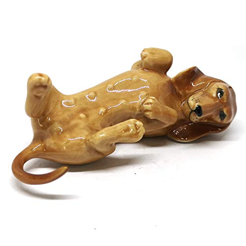 ZOOCRAFT Ceramic Miniatures Dog Statue Dachshund Statue Lying Brown Hand Painted Animal Figurines Collectible