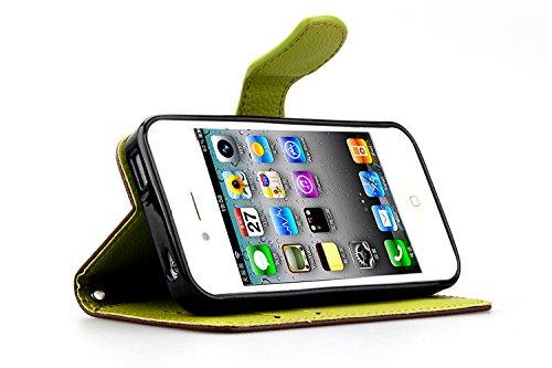 MOONCASE iPhone 4 Case Leder Tasche Flip Case Cover Schutzhülle Etui Hülle Schale für iPhone 4 4S Braun