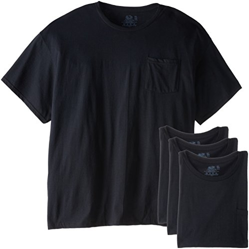 Fruit of the Loom Men's Pocket Crew Neck T-Shirt - XXX-Large - Black (Pack of 4)