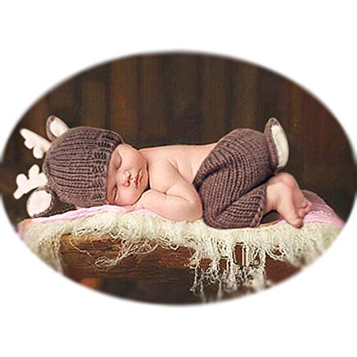 Newborn Baby Photography Shoot Outfits Christmas Deer Hat Pants for Boy Girls Photo Props Brown for $<!--$11.99-->