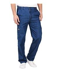 Mens Elasticated Combat Denim Trousers Pocket Jeans Loose Cargo Work Pants