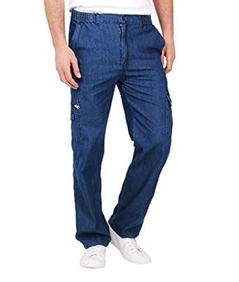 KRISP Mens Elasticated Combat Denim Trousers Pocket Jeans Loose Cargo Work Pants
