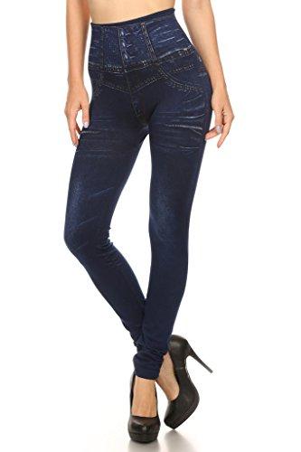New 2ND DATE Women's High Waisted Denim Look Skinny Tummy Tuck Leggings for sale