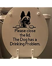 Toilet Lid Dog Stickers Decals, Please Close The Lid The Dog Has a Drinking Problem Toilet Decals, Detachable Prompt Artifact Toilet Bowl Sign, Toilet Bathroom Seat Reminder Vinyl Sticker Sign