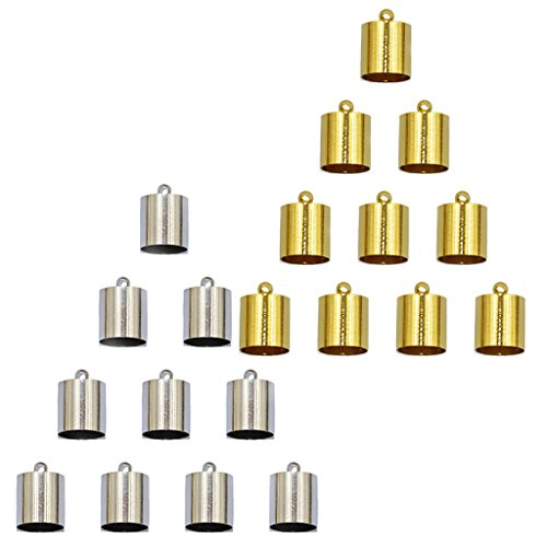 MonkeyJack 20pcs Gold Silver Necklace Tube Tip End Beads Bead Caps Jewelry Findings (Gold End Caps)