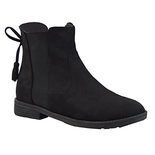 Faux Glam Casual Elasticated Faux Chelsea Boots Suede Suede Black Ankle Essex Womens Biker PwnqIxSPd0
