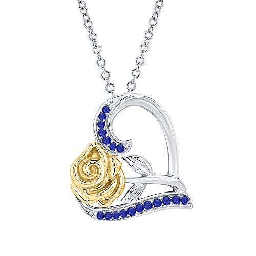 Sapphire Gold 14k Two Tone (Dazzling Rose Flower Heart Pendant Necklace Blue Sapphire 14k Two-Tone Gold Over .925 Sterling Silver for Womens)