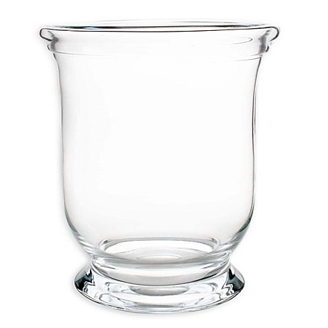 Large Rolled Rim Glass Hurricane Candle Holder - One Only