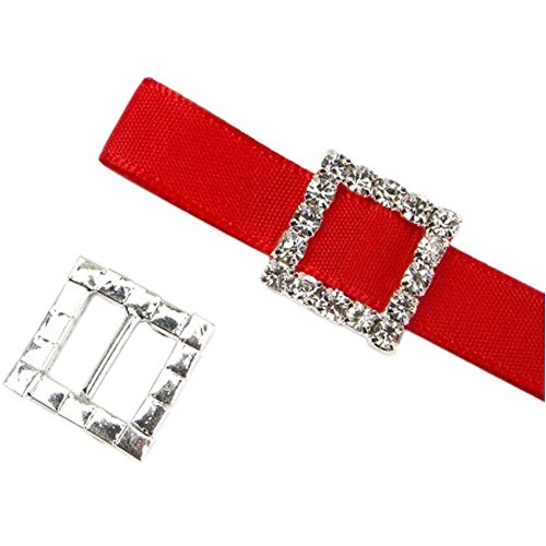 50Pcs/Set Silver Rhinestone Buckles Ribbon Slider Invited To The Wedding Decoration DIY Accessories (16MM Square)