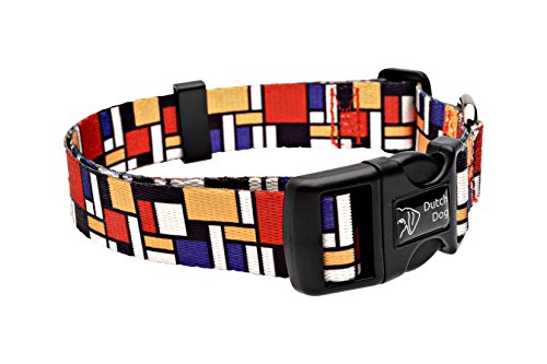 Dutch Dog Amsterdam Eco Friendly Mondrian Dog Collar, 15-20-Inch, Medium