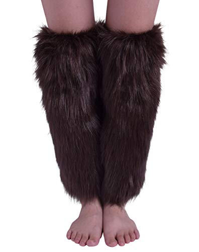Nanxson Women's Knit Acrylic Long Leg Warmer with Fur TTW0034 (coffee)]()