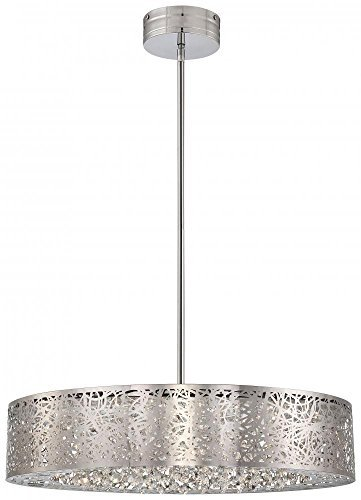 George Kovacs P986-077-L, Hidden Gems Large Drum Pendant, 1 Light LED, Chrome by George Kovacs