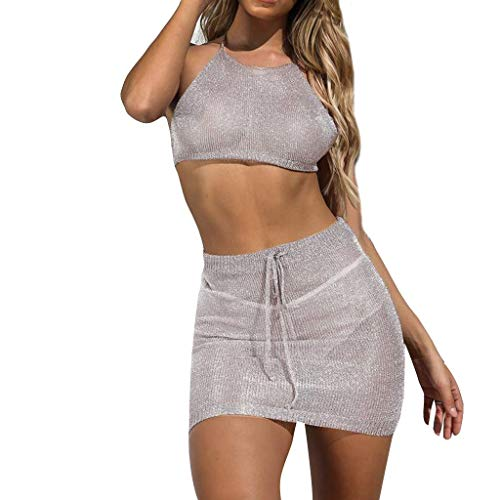 Womens Sexy 2 Piece Outfits Sleeveless Halter Neck Ribbed Crop Tops See Through Bikini Cover up Bodycon Stretch Midi Skirts Summer Beachwear