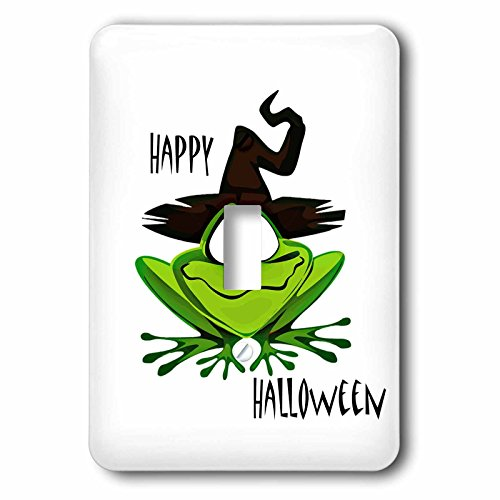 3dRose Halloween - Image of Happy Halloween With Frog and Witches Hat - Light Switch Covers - single toggle switch (Happy Halloween Witch Pics)
