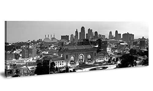 JiazuGo- Black and White City Wall Art, Night City Skyline of Kansas City, Wall Art City Canvas Prints Decor Homes Modern Artwork Office Living Room Decorations Ready to Hang 14
