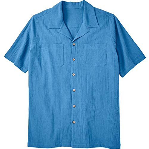 Gauze Camp Shirt - KingSize Men's Big & Tall Gauze Cotton Camp Shirt, Azure Blue Tall-2Xl
