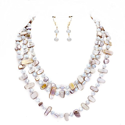 Uniklook Statement Layered Strands Glass Shell Mixed Beads Necklace Earrings Set Gift Bijoux (Purple, grey) - Shell Beads Necklace Earrings