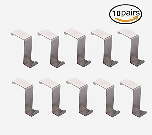 Floette 10 Packs Over the Door Hook Hanger Hanging Hooks, Stainless Steel, for Pocket Chart, Clothes, Towels, and General Organizers Door Hangers by Floette (Image #4)