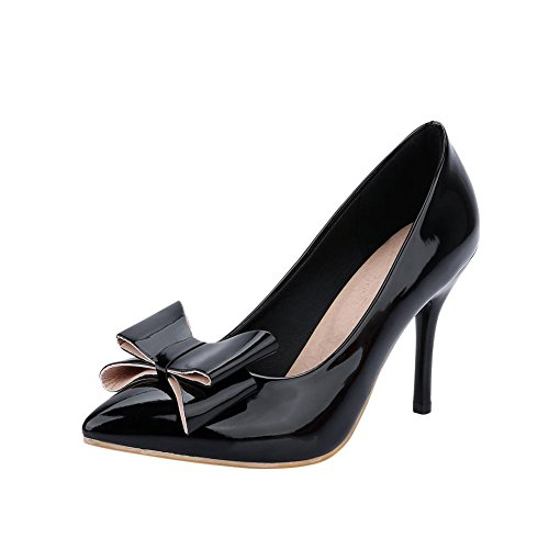 Latasa Womens Fashion Bow Pointed-toe Sitetto High Heel Dress Work Pumps Shoes Black SgdmmF