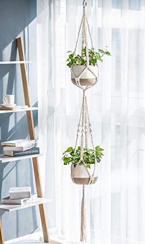 Mkono Macrame Plant Hangers Set of 4 Indoor Wall Hanging Planter Basket Decorative Flower Pot Holder with 4 Hooks for… 5