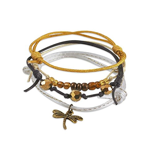 Gold Dragonfly Bracelets (Dragonfly Charm Bracelet - 4 adjustable bracelets, mustard yellow cord bracelet with gold dragonfly charm, stackable bracelets, nature, beach bracelet, boho jewelry, fun gift, summer, back to school)