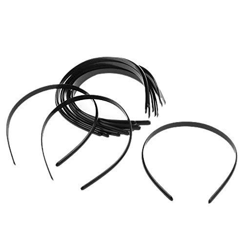 WINOMO 12pcs Womens Girls Plain No Teeth Plastic DIY Hair Bands Headbands Headwears (Black) -