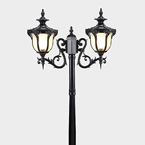 Candelabro 2 brazos,Lámpara de mástil negro aluminio y vidrio Farola Impermeable IP44 Lámpara de camino Altura 200CM Lámpara de jardín Césped Villa Lámpara de pie de lámpara de mástil: Amazon.es: Iluminación